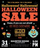 pic of happy halloween  - Bright trick or treat poster in vector - JPG