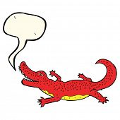 stock photo of crocodile  - cartoon crocodile with speech bubble - JPG