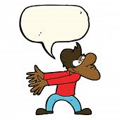 image of annoyance  - cartoon annoyed man gesturing with speech bubble - JPG