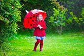 stock photo of little young child children girl toddler  - Little girl with red umbrella playing in the rain - JPG