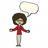image of spectacles  - cartoon woman wearing spectacles with speech bubble - JPG