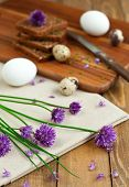 stock photo of chive  - Organic rye bread with fresh chives and eggs vertical - JPG