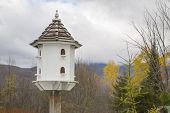 stock photo of rain clouds  - White Bird House with gray rain cloud and forest - JPG