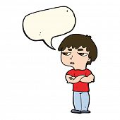 picture of annoyance  - cartoon annoyed boy with speech bubble - JPG