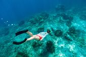 picture of clam  - Underwater photo of woman snorkeling and free diving in a clear tropical water at coral reef with giant clams - JPG