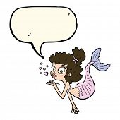 stock photo of mermaid  - cartoon pretty mermaid with speech bubble - JPG