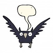 image of spooky  - cartoon spooky bird with speech bubble - JPG