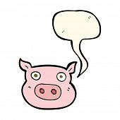 picture of pig head  - cartoon pig face with speech bubble - JPG