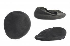 picture of beret  - Black woven beret flat - JPG