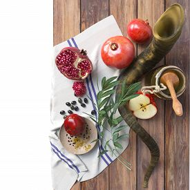 stock photo of pomegranate  - Honey jar with apples and pomegranate for Rosh Hashana religious holiday - JPG