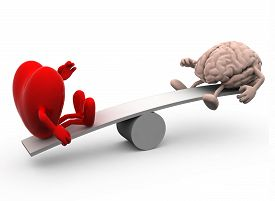 stock photo of seesaw  - seesaw with heart and brain 3d illustration - JPG