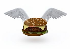 stock photo of wife-beater  - hamburger with bird wings that flying 3d illustration - JPG