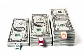 stock photo of money  - Saving money accumulating money money stacked in bundles steps financial planning dream come true planning costs packs of dollars family economics DSLR photography dollars horizontal picture - JPG