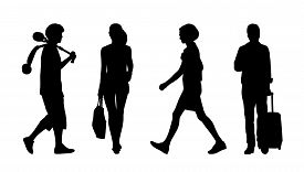 stock photo of ordinary woman  - silhouettes of ordinary adult men and women walking outdoor summertime - JPG