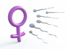 pic of ejaculation  - sexual symbol woman and sperms 3d illustration - JPG
