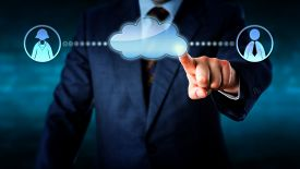 pic of blue-collar-worker  - Hand of a business man is touching a blank virtual cloud to connect with one female and one male office worker icon to either side - JPG