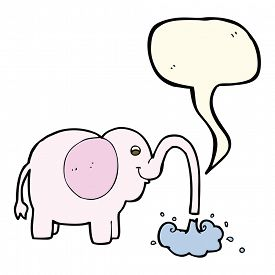 image of squirt  - cartoon elephant squirting water with speech bubble - JPG