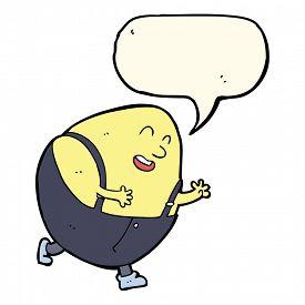 stock photo of nursery rhyme  - cartoon humpty dumpty egg character with speech bubble - JPG