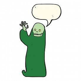 pic of ghoul  - cartoon waving halloween ghoul with speech bubble - JPG