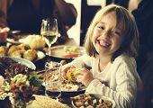 Little Kid Children Eating Corn Thanksgiving Celebration Concept poster