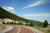 picture of colorado high country  - Curving mountain road in Big Horn Park Colorado - JPG