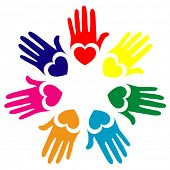Colorful hands and hearts vector.