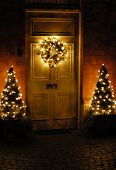 picture of christmas lights  - beautiful Christmas wreath hanging on the doors - JPG