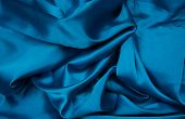Постер, плакат: Blue Satin Fabric Silk Fabric The Fabric Folds Draping