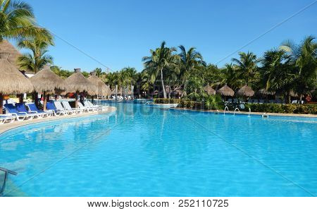 Pool Amenities At A Tropical