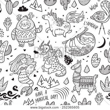 Ink Seamless Pattern With Yeti