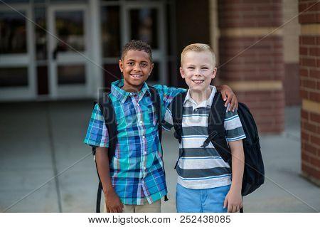 Portrait of Two diverse school