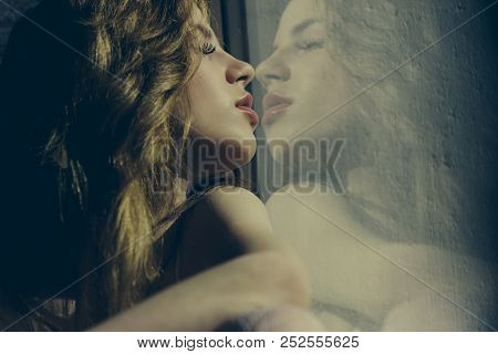 poster of Salon Concept. Woman With Long Hair Reflect In Glass Of Hair Design Salon. Beauty Treatment Salon. L