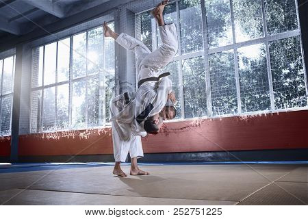 Two Judo Fighters Showing Technical