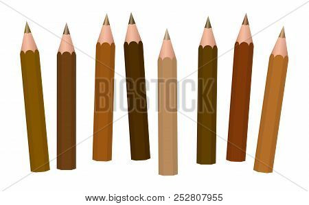 poster of Brown Pencils - Different Shades Of Brown Like Cinnamon, Brunette, Mocha, Umber, Chocolate, Caramel,