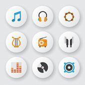 Audio Icons Flat Style Set With Philharmonic, Ear Muffs, Fm And Other Dj Elements. Isolated Vector I poster