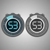 Постер, плакат: Electronic Digital Stopwatch Timer 53 Seconds Isolated On Gray Background Stopwatch Icon Set Time