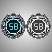 Постер, плакат: Electronic Digital Stopwatch Timer 58 Seconds Isolated On Gray Background Stopwatch Icon Set Time