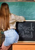 Student Teacher Mini Skirt Sexy Buttocks Sit Table Blackboard Inscription Back To School. Back And B poster
