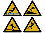 stock photo of slip hazard  - Caution signs figures falling tripping and slipping - JPG
