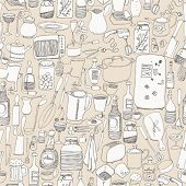 Seamless pattern with kitchen