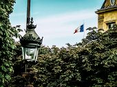 Paris France June 28, 2016 Closeup Of Public Lighting In The Streets Of Paris In The Morning poster