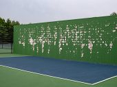 Tennis, Lacrosse, Ball Sports Practice Brick Wall At A Local Court With Green Paint Peeling poster