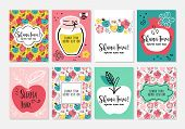 Rosh Hashanah (jewish New Year) Greeting Card Design Set. Hebrew Text : Happy And Sweet New Year. Ve poster