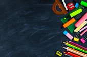 Back To School Concept. School Supplies On Blackboard Background, Accessories For The Schoolroom - P poster