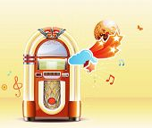 foto of jukebox  - Vector illustration in retro style of party abstract background with detailed classic juke box - JPG