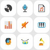 Audio Icons Flat Style Set With Synthesizer, Play List, Listen And Other Quiet Elements. Isolated Ve poster