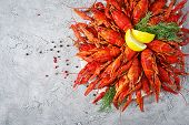 Crayfish. Red Boiled Crawfishes On Table In Rustic Style, Closeup. Lobster Closeup. Border Desig. To poster