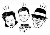 Avatar Retro Family. Cartoon Faces Retro Style. Vector Illustration. poster