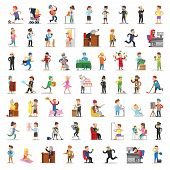 People Characters Collection. Cartoon Set Different Professions In Various Poses. Businessman, Docto poster