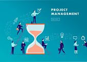 Vector Flat Minimalistic Business Illustration - Project Management, Team Work, Time Management, Bus poster